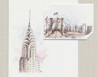Instant Digital Download NYC Brooklyn Bridge & Chrysler Building Greeting Card + Envelope