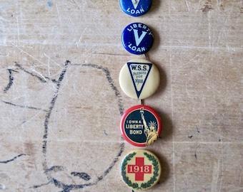 WWI Liberty Bond Pin Back Buttons, Victory Liberty Loan, Antique Pins, Metals Pins, Militaria, War Bond Pin, Historical Pins, Old Metal Pins