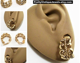Avon Scroll Hoop Clip On Earrings Gold Tone Vintage 1977 French Filigree Nail Head Open Round Wide Band Dangles