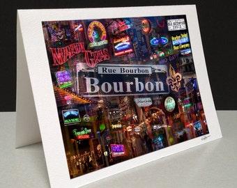 Down on Bourbon Street 5 x 7 Greeting Card - New Orleans, LA