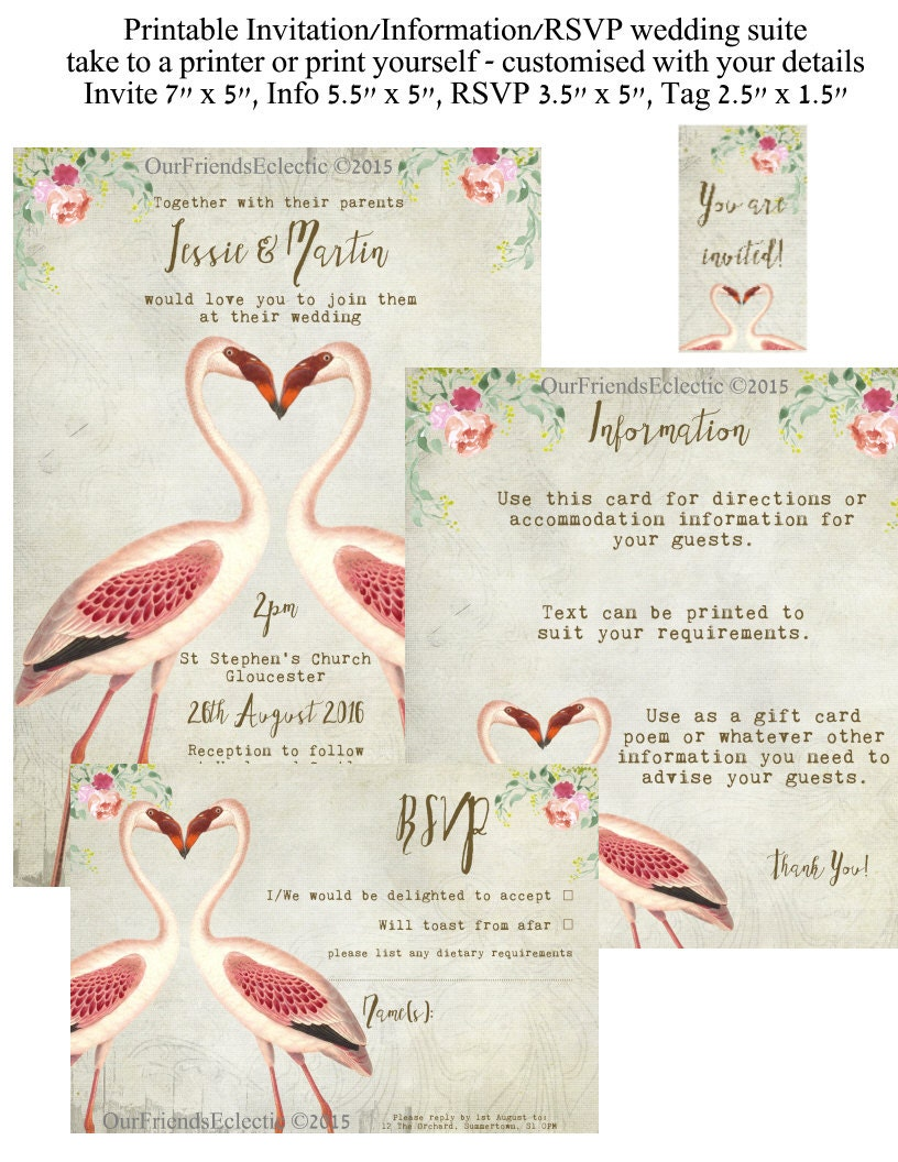Printable wedding invitation flamingo wedding invitation