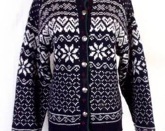 vtg L.L. Bean euc Chunky Wool Ugly Christmas Sweater Ski Nordic Fair Isle SZ S