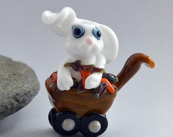 CARROT Thief, Bunny in a Wheelbarrow with Carrots,   Glass Sculpture Collectible, Focal Bead, Pendant, Izzybeads SRA