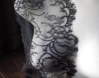 BLACK Eyelash Lace Chantilly Lace for Bridal Lace Caps, Gowns, Lingerie CH 4bl