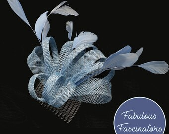 Pale Blue Fascinator Hair Clip Comb, Wedding Hat, Derby Hat