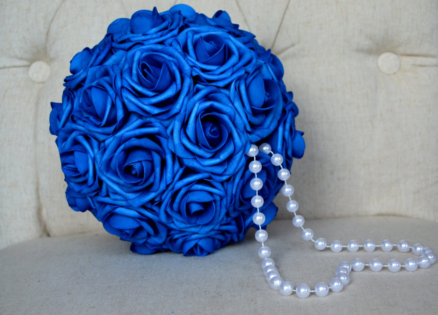 Royal Blue Flower Ball With Pearl Handle Royal Blue Kissing
