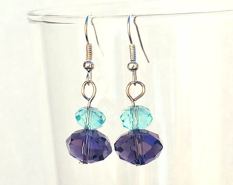 Blue and Purple Faceted Glass Earrings - Beaded Glass Earrings - Handmade Earrings - Gifts for Women - Pretty Earrings - Simple Jewelry