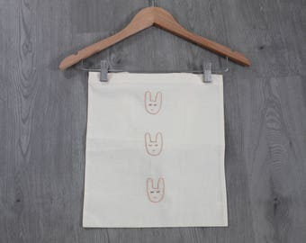Tote bag Embroidered handmade rabbit heads