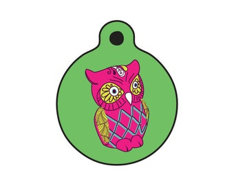The Owl #2 - Dog or Cat Name Tag - 1in wide 2 sided aluminum full color ID tag