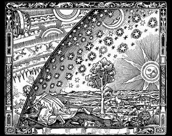 Flammarion engraving print - Middle Ages Representation of the Heavens ~ Giclee Fine Art Print - Wall Art Classic