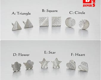 925 Sterling Silver Earrings, Triangle, Square, Circle, Flower, Star and Heart Earrings, Geometric Earrings, Stud Earrings (Code : ED24)