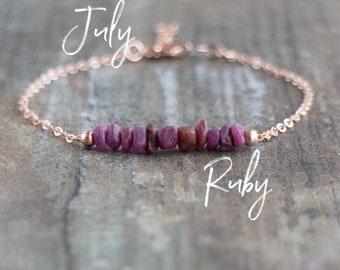 Raw Ruby Bracelet