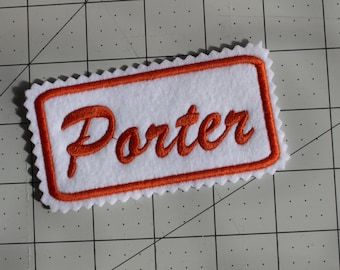 Custom Felt Iron-on Name patch, 4x2 inches, Jagged edging, name label,  Monogrammed Personalised name tag, embroidered name patch F5