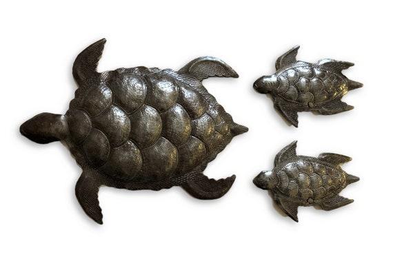 "Sea Turtle, Set of 3, Swimming Left, Ocean, Beach, Metal Wall Art, Recycled Steel Haiti (large turtle 12"" x 10"" / mini turtles 5.5"" x 4"")"