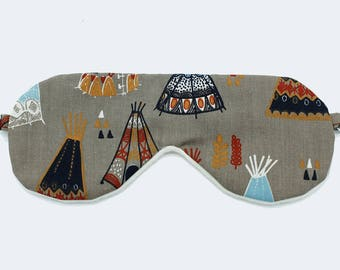 Organic cotton tepee sleep mask for girls, Women sleeping mask, Eye mask for kids, Travel sleep mask, Sleep mask kids, Organic sleepwear