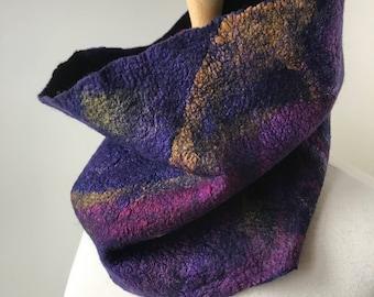 Écharpe col fibre Art, feutrée à la main, laine mérinos et soie, cache-cou, Wrap, unique en son genre, Texture, coloré, doux, de la mode, Unique