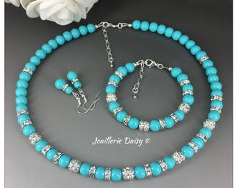 Clearance Turquoise Jewelry Turquoise Necklace Turquoise Bracelet Pearl Jewelry Set Bridesmaids Gift Bridesmaid Beach Wedding Gift for Her