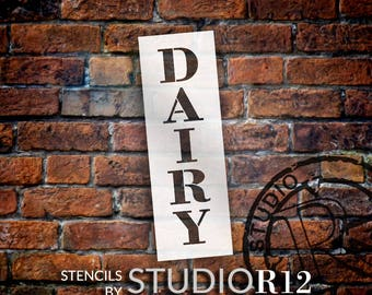 Dairy - Farmhouse Serif - Vertical - Word Stencil - Select Size - STCL1962 - by StudioR12