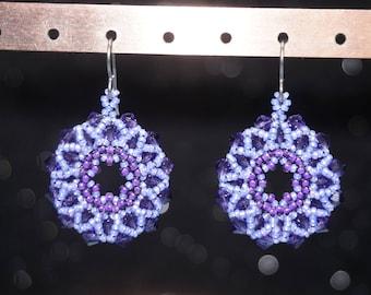Circular Drop Earrings Made of Preciosa Crystal Bicones