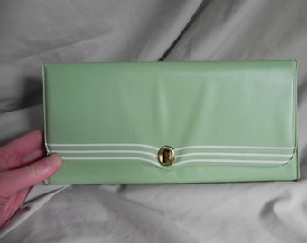1960's or 1970's Lime Green Clutch Purse with Mirror and Comb
