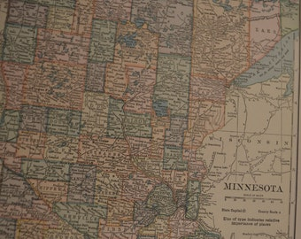 1919 State Map Minnesota - Vintage Antique Map Great for Framing