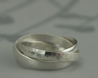Wide Rolling Ring in Sterling Silver--3mm Wide Tri Textured Solid Sterling Silver Bands--Russian Wedding Band--Hammered Brushed and Polished