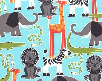 Michael Miller Fabric  - Safari Friends - Aqua - CX7286 - Cotton fabric by the yard(s)