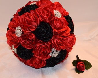 Red and Black Wedding Bouquet, Bridal Bouquet, Fabric Bouquet, Red Bouquet, Quinceanera Bouquet, Black and Red, Alternative Bouquet