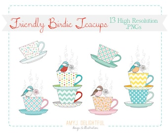 Friendly Birdie Teacups CLIP ART SET for personal and commercial use