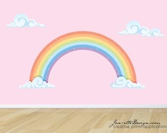 Rainbow Wall Decal, Pastel Rainbow Fabric Wall Sticker, Rainbow Wall Art
