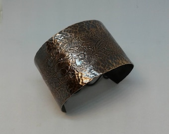 Etched and hammered copper cuff bracelet