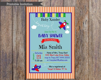 Boy oh Boy, Airplane Baby Shower Invitation, 4x6, 5x7, Custom Invitation, Printable Invitation, Orange Blue Green