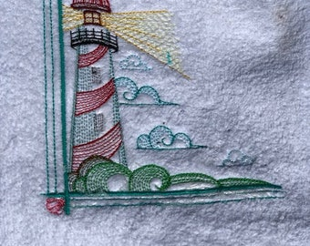 Finger tip towels, Beach, summer, personalized, lighthouse