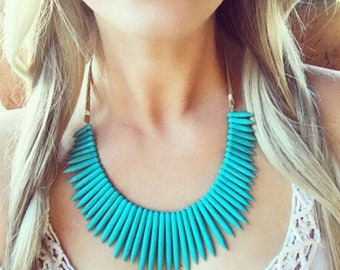 Turquoise Statement Necklace, Turquoise Bib Necklace, Tribal Bib Necklace, Ethnic Necklace, Ethnic Boho Necklace, Chunky Bib Necklace, Boho