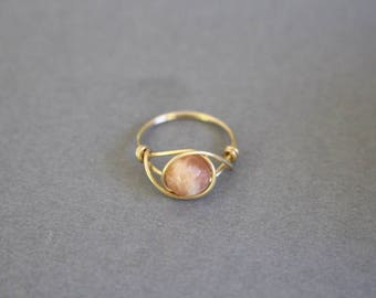 Sunstone ring, sunstone gemstone, wire ring, wire wrapped ring, stone wire ring, pink stone ring, healing gemstone jewelry, custom wire ring