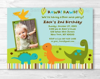 Dinosaur Birthday Invitation / Boy Dinosaur / 1st Birthday / 2nd Birthday / Any Age / PRINTABLE A173