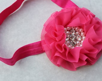 Pink baby headband, flower girl pink headband, baby elastic headband, hot pink headband, toddler dark pink headband, baby photo prop