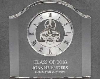 Engraved Crystal Graduation Mantle Clock