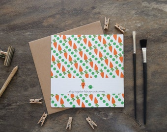 By the Shed - Peas and Carrots Print Card - Forrest Gump - Engagement, Anniversary, Wedding, Valentines, Civil Partnership