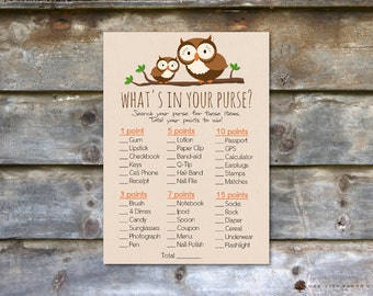 Owl Whats in Your Purse Shower Game - Whats In Your Purse Baby Shower Game, Owl Baby Shower Games, Woodland Baby Shower - Printable, DIY