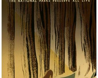 vintage art deco poster national parks preserve wild life illustration digital download