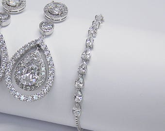 Art Deco Diamante Bridal Jewelry Set Pear Tennis Wedding Bracelet Bridal Earrings Bracelet Cocktail Jewelry