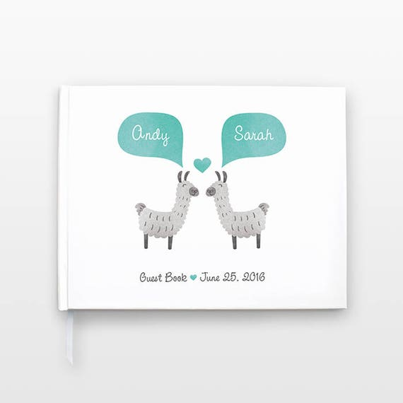 LLAMA Wedding Guestbook, Unique Wedding Guest Book Wedding Gift, Alpaca Personalized Journal, Couple Notebook, Animal Wedding, Hardcover