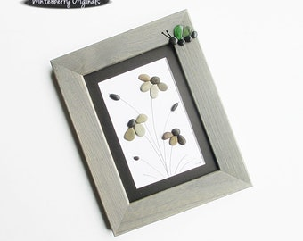 "Pebble Art:  Daisies and Sea Glass Butterfly - 7.25"" by 9"" gray frame, original art, beach art, butterfly sea glass art, framed pebble art"