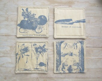 SALE * Drink coaster mug rug place mat coffee set of 4 garden silver gray daffodil narcissus radish tool vintage print hostess Mother's gift