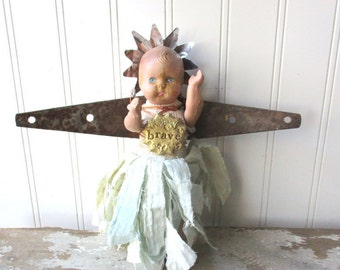 Assemblage angel art doll mixed media angel rusty hinge wings Brave upcycled shabby vintage altered art doll  santo Folk Art wall hanging