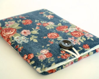Kindle Voyage Cover, Kindle Paperwhite, iPad Mini Case Padded Sleeve eReader Cover - Vintage Flowers