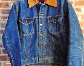 Vintage Sears Roebucks Selvedge 12 gauge buttons denim jacket with red quilted liner