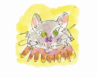 "COSTUME KITTY...Clipart / Digital Download / 300 dpi/ hi resolution of Original Watercolor . 8""x10"" Great for any application."