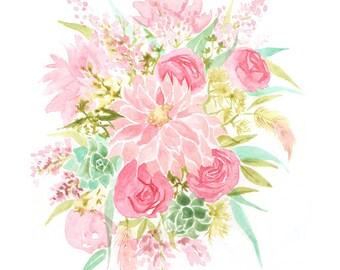 Spring Floral Print (Watercolor Illustration - Floral Art Print - Art - Home Decor - Farmhouse Decor - Pink Watercolor Flower Bouquet Print)